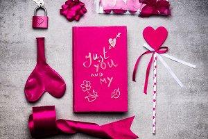 Valentines day flat lay