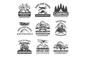 Labels set for travelers club. Vector monochrome pictures