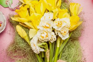 Easter greeting flowers bunch
