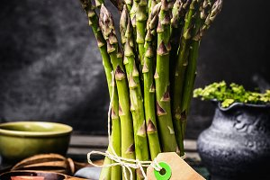 Asparagus bunch with blank tag