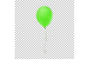Realistic green balloon icon.