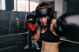 Female boxer in action
