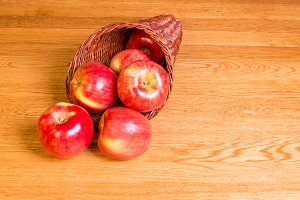 Freshly picked red apples
