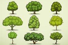 Cartoon deciduous trees