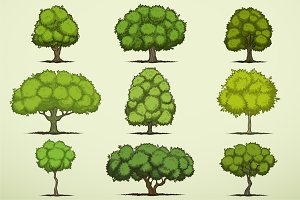 Cartoon deciduous trees