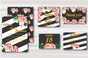 Stylish Stripes & Flower Wedding set