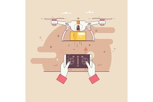 Dron delivers the parcel.The concept of fast, free delivery, gift.