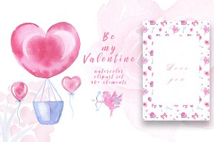 Watercolor Clipart Valentine's Day