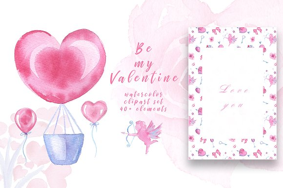 Watercolor Clipart Valentine\'s Day ~ Illustrations ~ Creative Market