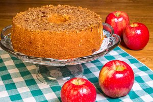 Freshly baked apple cake