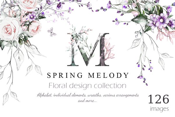 Spring Melody. Floral Design bundle