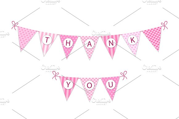 Cute Vintage Festive Fabric Pennant Banner As Bunting Flags With Letters Thank You In Shabby Chic Style