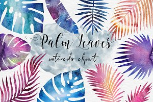 Galaxy Watercolor Palm Leaves