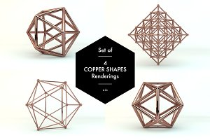 Set of 4 Copper Shades Renderings
