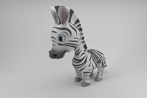 Rigged and Animated Cartoon Zebra