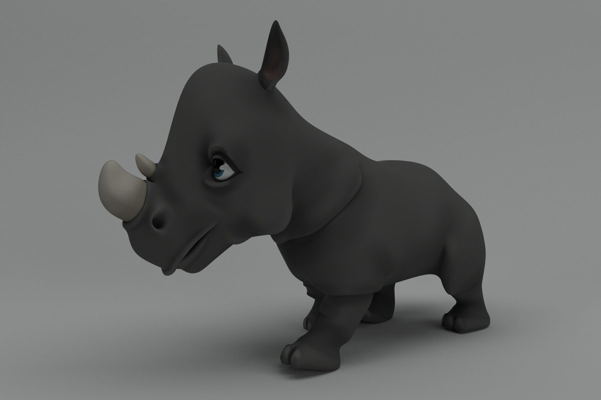 Rigged and Animated Cartoon Rhino ~ 3D Animal Models