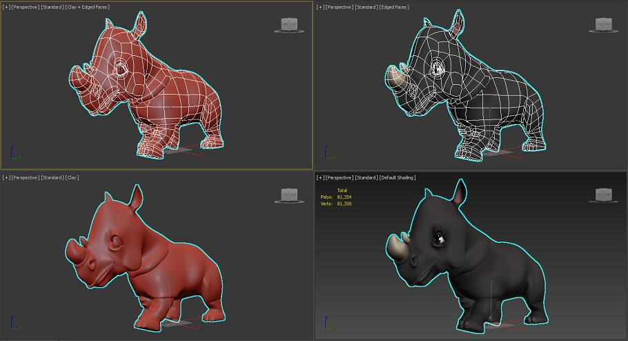 Rigged and Animated Cartoon Rhino