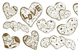 Cookies sketch on white background