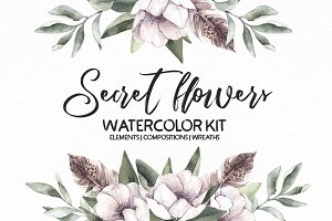 Secret flowers. Watercolor kit