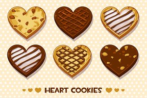 Heart shaped Gingerbread and chocolate cookies, set Happy Valentines day