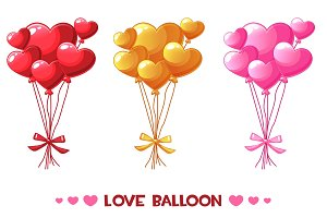 Cartoon colored heart balloons, set Happy Valentines day