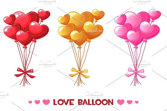 Cartoon Colored Heart Balloons Set Happy Valentines Day