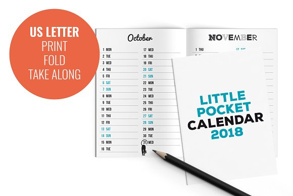 little pocket calendar 2018 templates