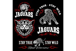 Jaguar custom motors club t-shirt vector logo on dark background. Wild animals - vector set.