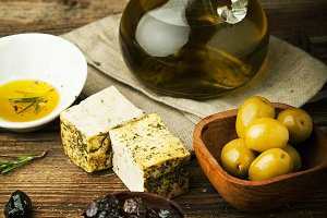 Feta, olives, spices and olive oil