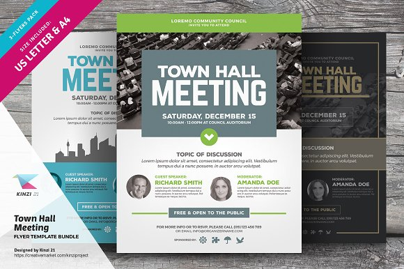 Town Hall Meeting Flyer Bundle Flyer Templates Creative Market