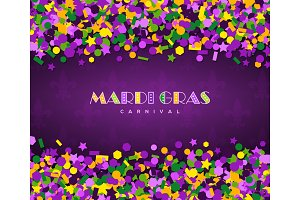 carnival mardi gras confetti on dark background