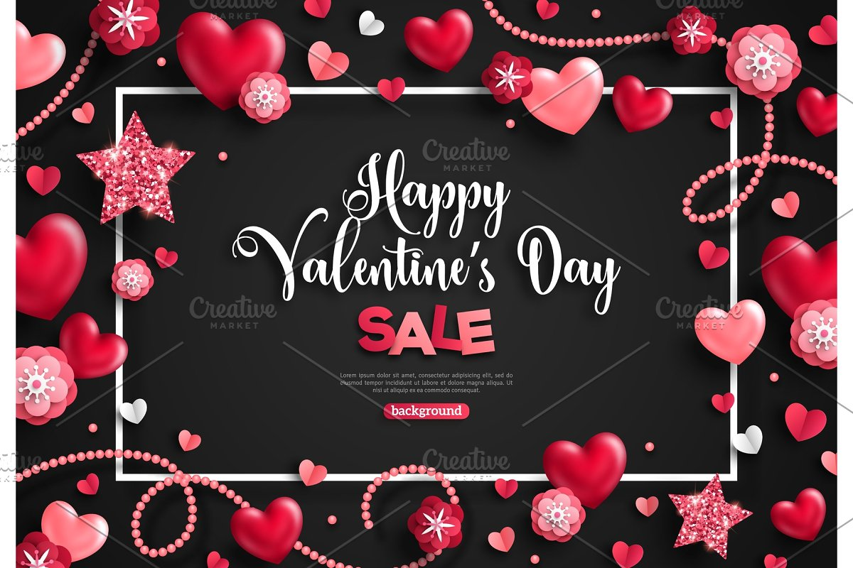 Valentine's day sale with frame, objects on black