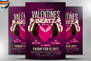 Valentines Beatz Flyer Template