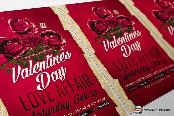 Valentines Day Love Affair Flyer Templates Creative Market