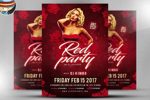 Valentines Red Party Flyer Template
