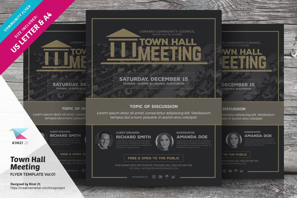 town hall meeting flyer vol 01 flyer templates creative market
