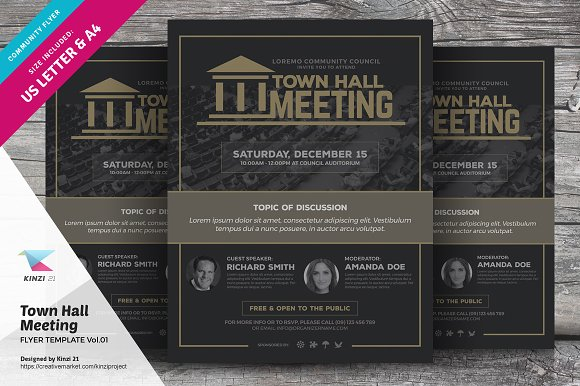 Town Hall Meeting Flyer Vol01 Flyer Templates Creative Market