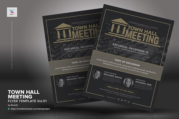 Town Hall Meeting Flyer Vol01 Flyer Templates Creative Market