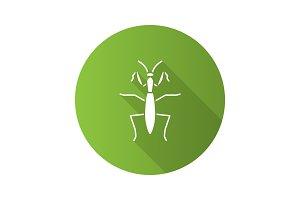 Praying mantis flat design long shadow glyph icons set