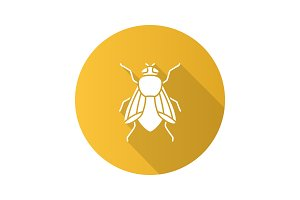 Housefly flat design long shadow glyph icons set