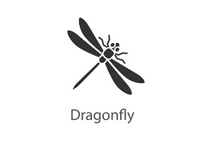 Dragonfly glyph icon