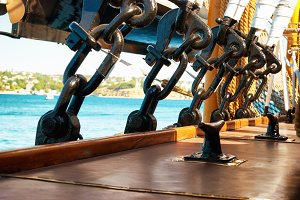 Rigging and ropes on sail ship