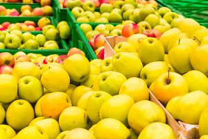 Red and yellow fresh apples