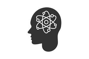 Human head with atom inside glyph icon
