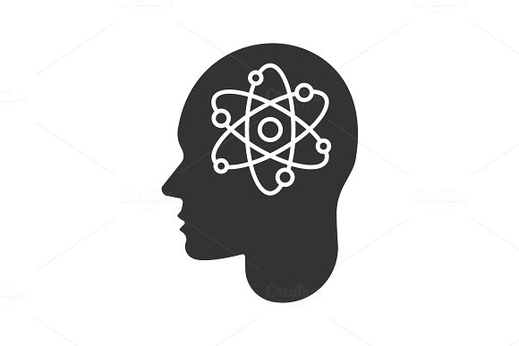 Human Head With Atom Inside Glyph Icon
