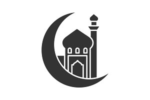 Mosque with ramadan moon glyph icon