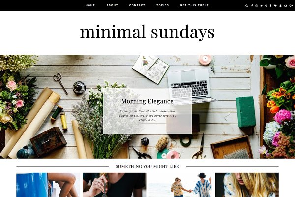 "WordPress Blog Themes: Kotryna Bass Design - Wordpress Theme ""Minimal Sundays"""