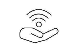 Open hand with wi-fi sign linear icon