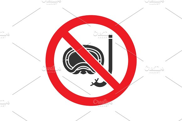 Forbidden sign with aqualung glyph icon