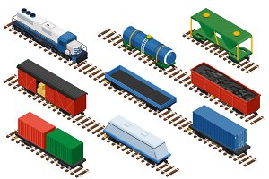 Isometric set of railway trains